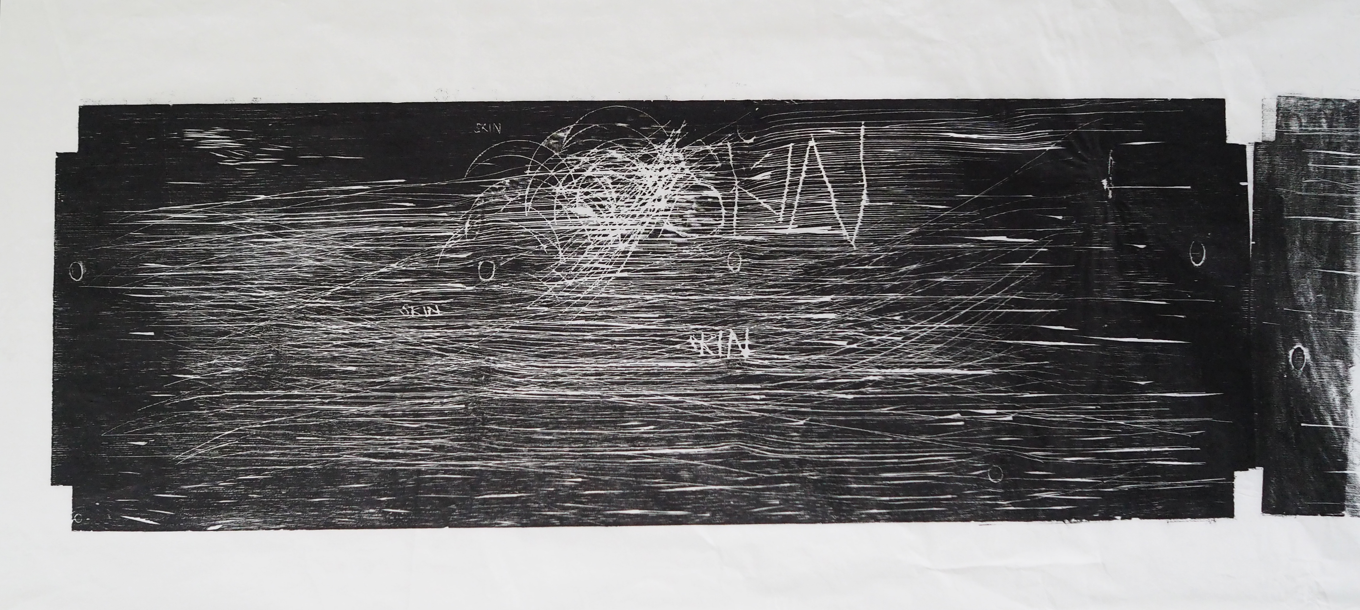 Print on rice paper from a drawing on a wood shelf board (2012)